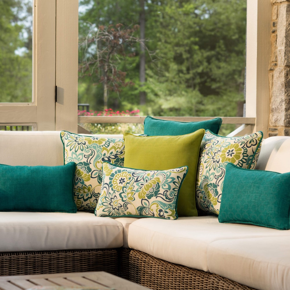 Pillow Perfect Outdoor/ Indoor Zoe Mallard Rectangular Throw Pillow (Set of 2)