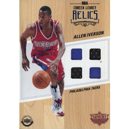 uk availability 00688 9cf67 Allen Iverson Philadelphia 76ers Red and White Jersey Game Used Supreme  Hard Court - Upper Deck