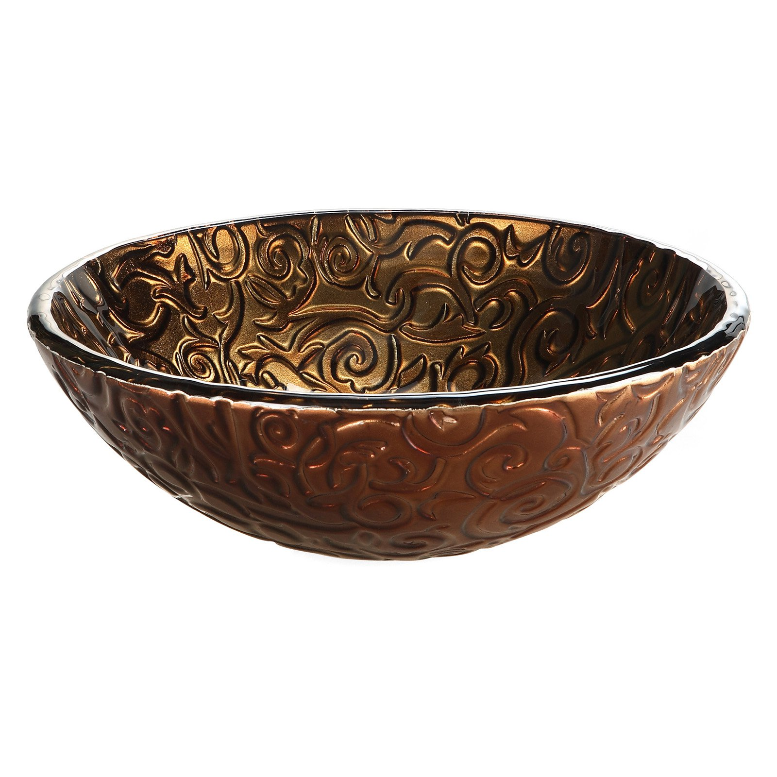 Xylem RVE165 Reflex Round Glass Vessel Sink - Metallic Brown Copper Vine
