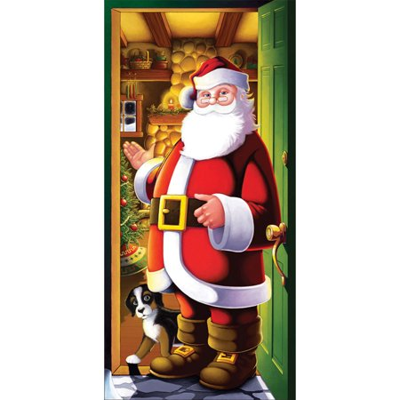Morris Costumes Party Supplies Christmas Santa Cozy Home Door Cover, Style
