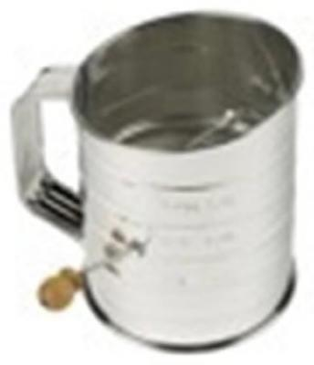 3 Cup Flour Sifter Durable Bright Steel With Scoop Edge & Side Crank Only One by