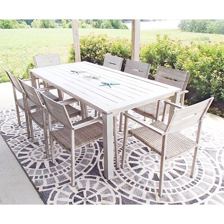 9pc Outdoor Aluminum and Wicker Hand Painted Beachwood Look Patio Dining Set ()