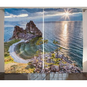 Travel Decor Curtains 2 Panels Set, Shaman Rock Lake Baikal in Russia Coastal Theme Sun Rays Scenic Vista, Window Drapes for Living Room Bedroom, 108W X 90L Inches, Green Brown Blue, by Ambesonne
