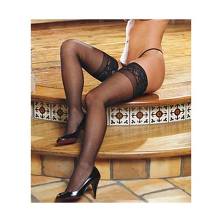 804dde8c3f3 Dreamgirl - Sheer Thigh High With Stay Up Silicone Lace Top - Walmart.com