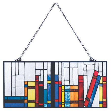 Books On A Shelf Stained Glass Hanging Window Panel Walmartcom