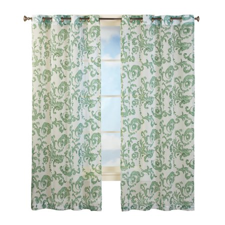 """Grommet Top Sheer Curtain Panel with Floral Scroll Linen Pattern, 84"""" Panel, Sage"""