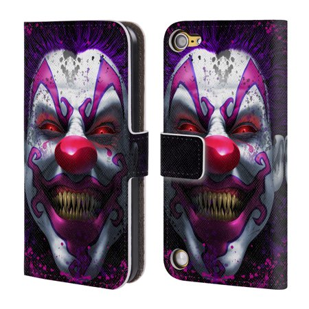 OFFICIAL TOM WOOD HORROR LEATHER BOOK WALLET CASE COVER FOR APPLE IPOD TOUCH MP3 (Clown Demon)