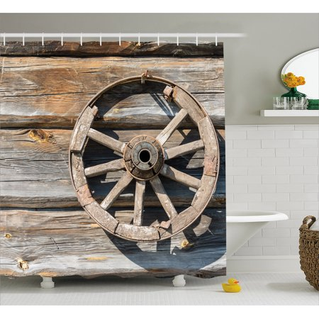 - Barn Wood Wagon Wheel Shower Curtain, Old Log Wall with Cartwheel Telega Rural Countryside Themed Image, Fabric Bathroom Set with Hooks, Umber Beige, by Ambesonne