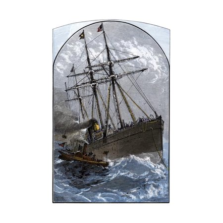 Mail Boat in a Gale Delivering to White Star Lines Steamer Germanic Off Sandy Hook, NJ, 1870s Print Wall Art](Halloween Sandy Nj)