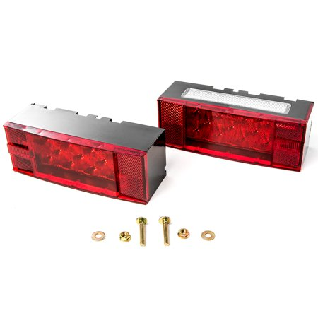12V LED Submersible Rectangular Trailer Light Low Profile Kit Tail Stop Turn Running Lights for Boat Trailer Truck Marine ()