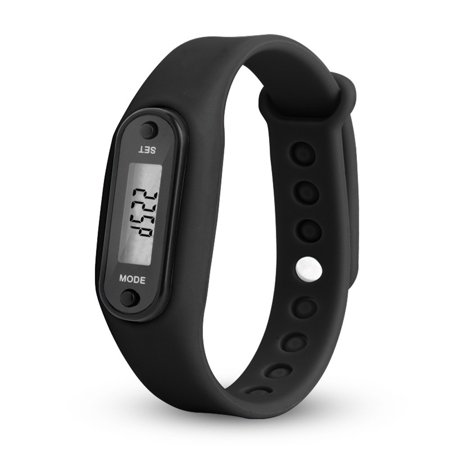 Fitness Tracker Watch, Waterproof Simple Operation Run Step Pedometer Bracelet - Wrist Band Replaceable Color:Black