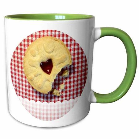 Red And White Gingham (3dRose Jammy Dodger Cookie on Red and White Gingham Background - Two Tone Green Mug,)