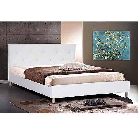 Baxton Studio Queen Modern Faux Leather Platform Bed with Crystal Button Tufting, (Crystal White Leather)