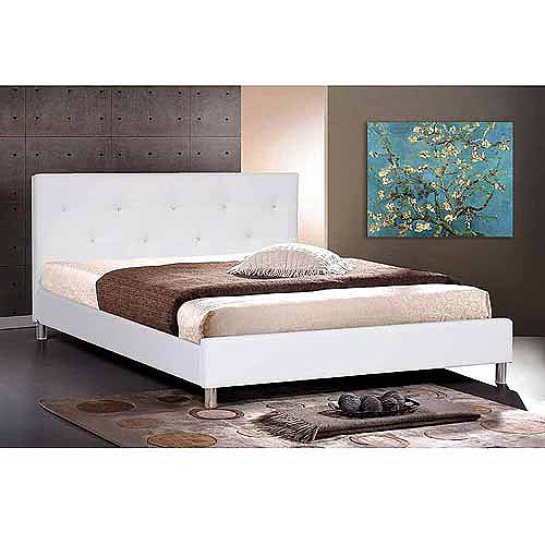 baxton studio queen modern faux leather platform bed with crystal button tufting white