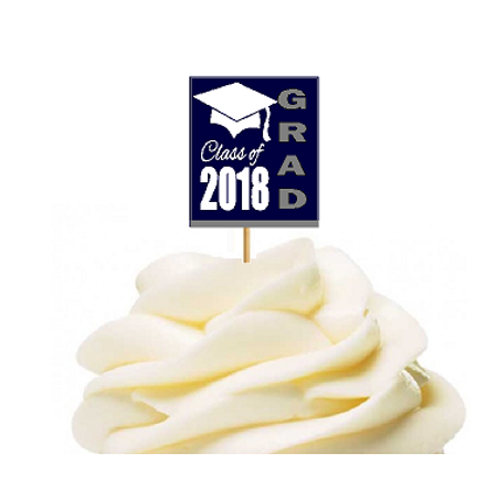 12pack Class of 2018 Navy Graduation Party CUpcake Desert Appetizer Food Decoration Picks