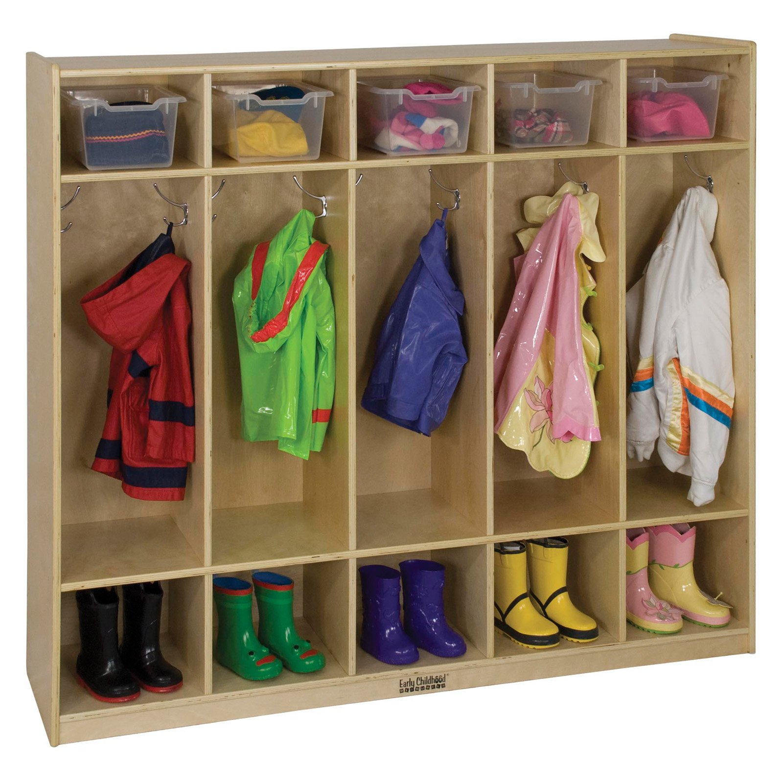 ECR4KIDS 5 Section Coat Locker - Birch