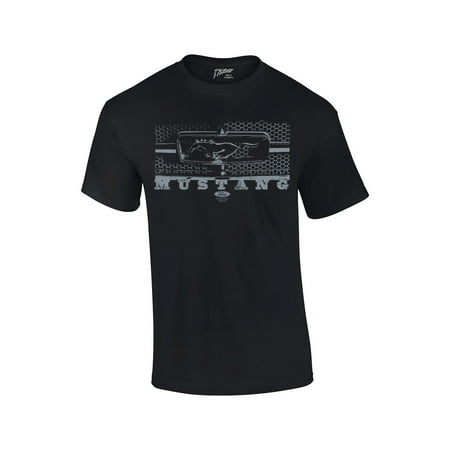 Ford T-Shirt Mustang Grill Legend Honeycomb Grill and Emblem - Frill Front Shirt