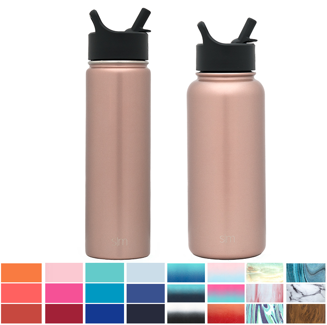 Simple Modern 22 oz Summit Water Bottle with Straw Lid - Vacuum Insulated Powder Coated Sweat Proof 18/8 Stainless Steel Flask - Gold Hydro Travel Mug - Rose Gold
