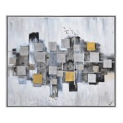 "Ren Wil Ol1321 Ordered Chaos 50"" X 60"" Framed Abstract Painting On Canvas - Silver"