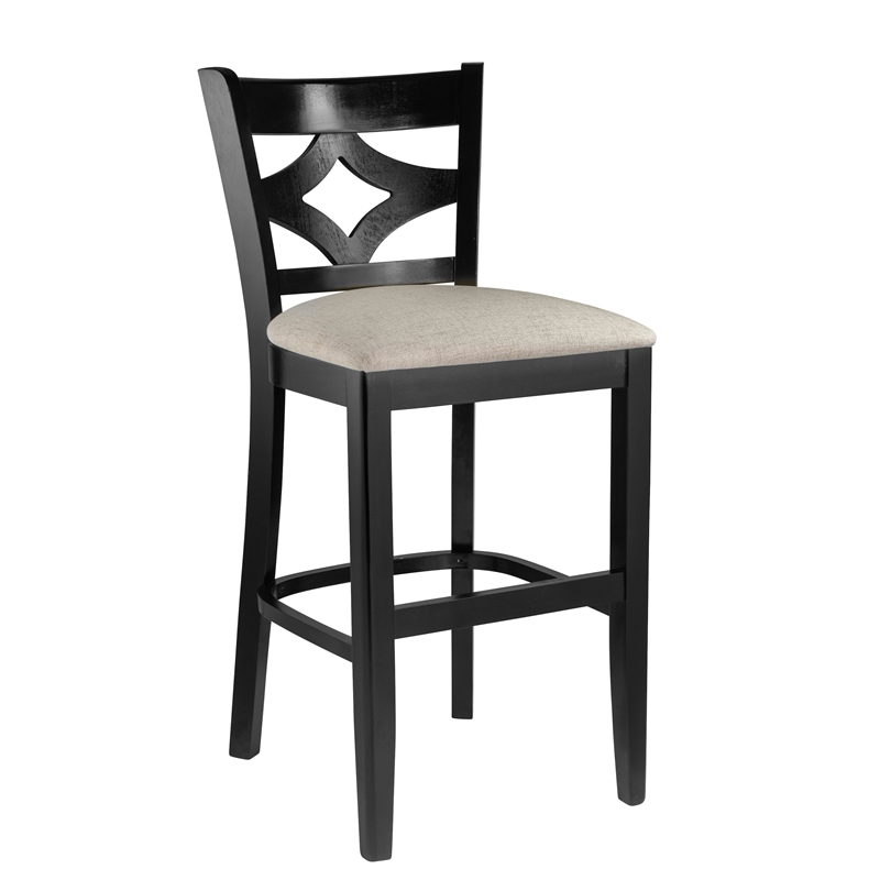 Curtain Back Counter Stool In Black