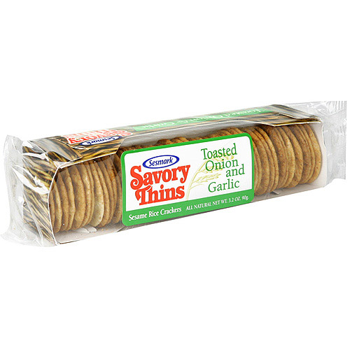 Sesmark Toasted Onion & Garlic Savory Rice Thins, 3.2 oz (Pack of 12)