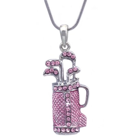 cocojewelry Pink Golf Club Set Bag Sporting Goods Pendant Sports Necklace