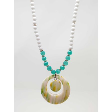 "Green & White Large Pendant Necklace Beautiful Women Fashion Jewelry for Evening Party office -32"" Statement Necklace"