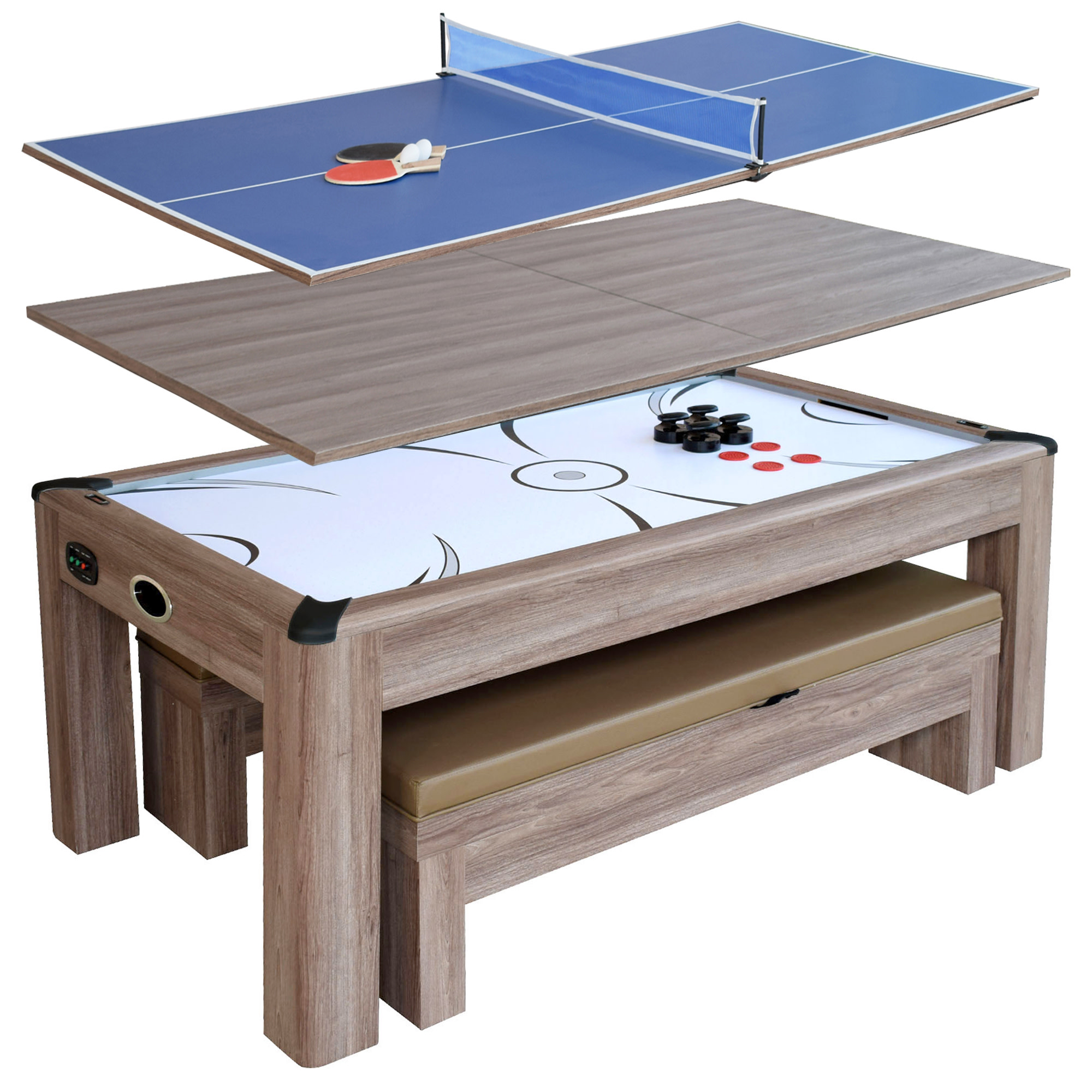 Hathaway Driftwood 7-ft Air Hockey Table Tennis Combo Set w/Benches