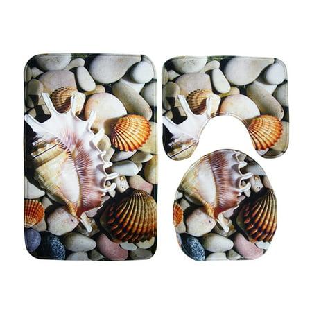 3pcs Conch Pebble Seaside Beach Bathroom Rug Set Non Slip Bath Mat Contour Lid Toilet Cover Com