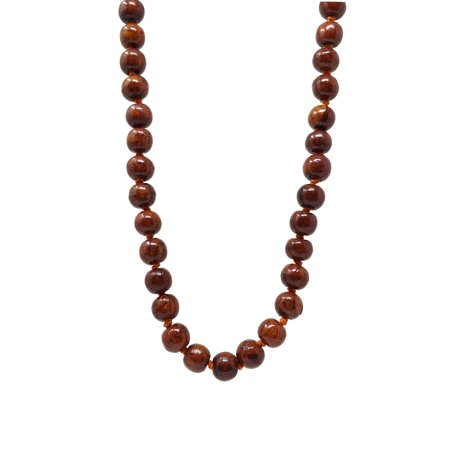 Brown Wooden Polished Beaded Necklace with Orange knotted Yarn for Women - Wood Handmade Fashion Bead Jewelry