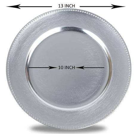 Round Charger Beaded Dinner Plates, Silver 13 inch, Set of 1,2,4,6, or 12