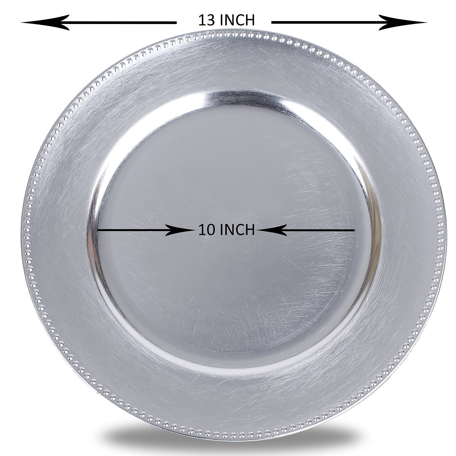 Round Charger Beaded Dinner Plates, Silver 13 inch, Set of 1,2,4,6, or 12 (12)