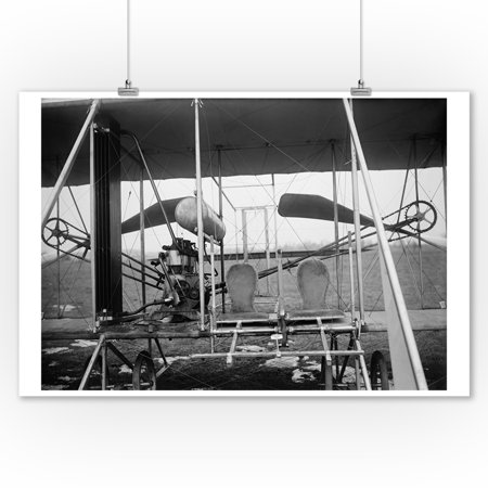 Wright Brothers Plane with Pilot and Passenger Seats - Vintage Photograph (9x12 Art Print, Wall Decor Travel Poster)