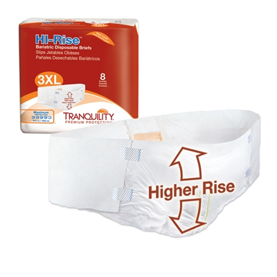 "Tranquility Hi-Rise Bariatric Brief, 3XL, 64"" to 96"" Waist, Heavy Absorbency, 2192 - Case of 32"