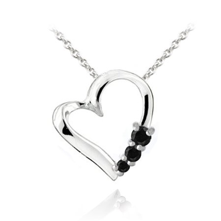 Sterling Silver Black Spinel Three Stone Floating Heart - 3 Stone Heart