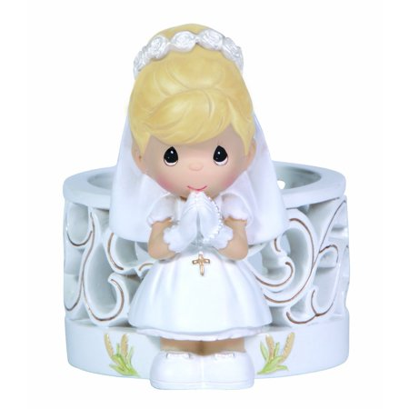 Precious Moments, Communion Gifts, Blessings On Your First Holy Communion, Girl, Resin Figurine With LED Votive Candle, (Precious Moments First Communion)