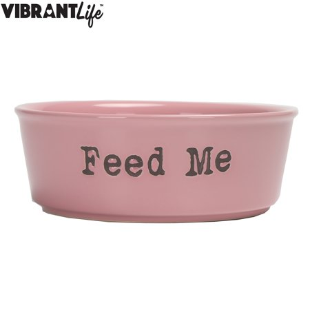vibrant life ceramic feed me pet bowl pink large. Black Bedroom Furniture Sets. Home Design Ideas