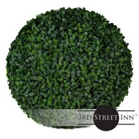 "3rd Street Inn Boxwood Topiary Ball - 15"" Artificial Topiary Plant - Wedding Decor - Indoor/Outdoor Artificial Plant Ball - Topiary Tree Substitute (2, Boxwood)"