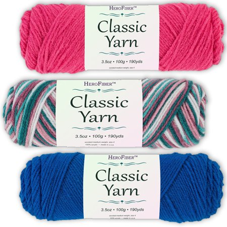 Soft Acrylic Yarn 3-Pack, 3.5oz / ball, Red Grenadine + Blend Rose + Blue Skipper. Great value for knitting, crochet, needlework, arts & crafts projects, gift set for beginners and