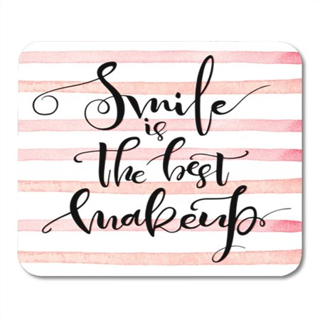 KDAGR Smile is The Best Makeup Inspirational Calligraphic Positive Saying About Mousepad Mouse Pad Mouse Mat 9x10 (Best Laptops To Make Beats On)