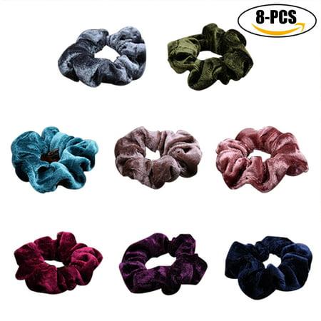 8PCS Hair Scrunchies Soft Elastic Traceless Pleuche Hair Ropes Hair Ties for Girls Women(Random Color)