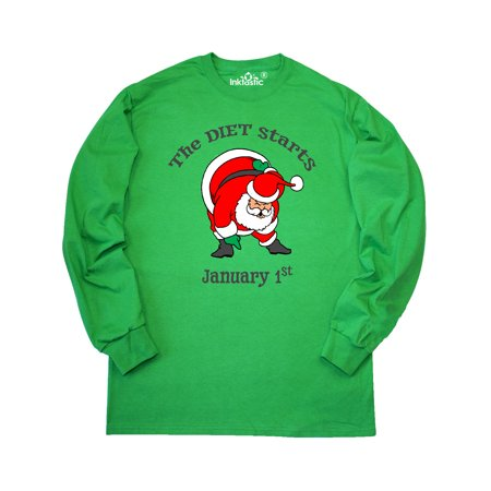 The Diet Starts January 1st Santa Can't Touch His Toes Long Sleeve T-Shirt