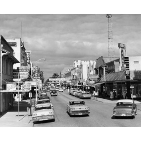 Usa Florida Fort Myers Buildings Along Main Street Poster Print
