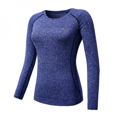 [Big Save!]Women Cozy Quick Dry Tops Compression Base Layer Athletic Long Sleeve T-Shirts Sports For Running Cycling Fitness Yoga Gym Blue L thumbnail