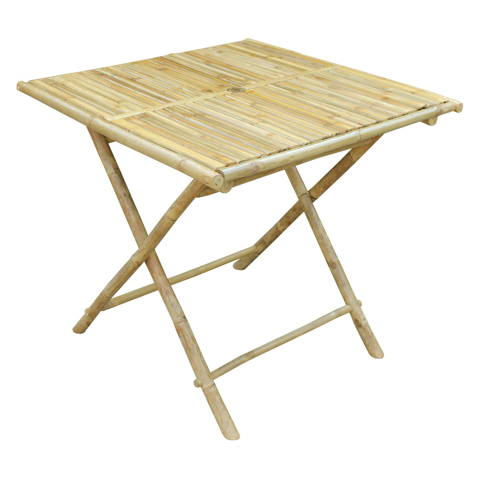 Zew Hand Crafted Square Folding Bamboo Patio Bistro Table