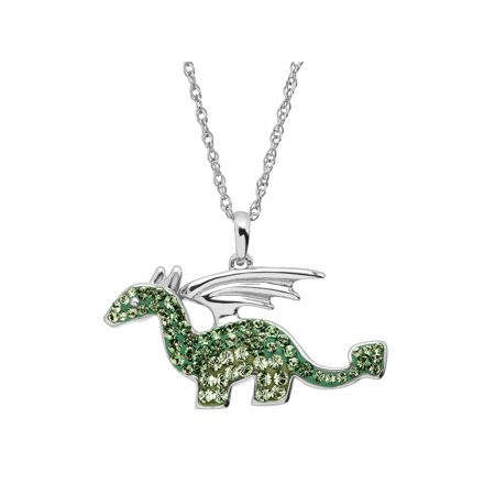 Luminesse Dragon Pendant Necklace with Green Swarovski Crystals in Sterling Silver Dragon Green Jade Necklace