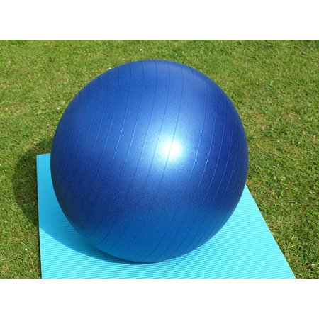 Exercise Ball Posture - LAMINATED POSTER Blue Yoga Sport Large Exercise Ball Gymnastics Poster Print 24 x 36