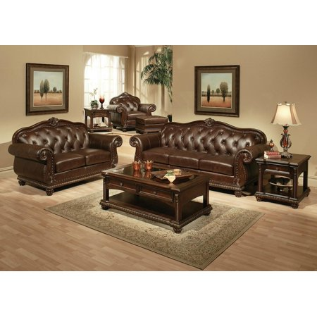 Acme Furniture 15030 Anondale Espresso Top Grain Leather Sofa and Loveseat 2Pcs