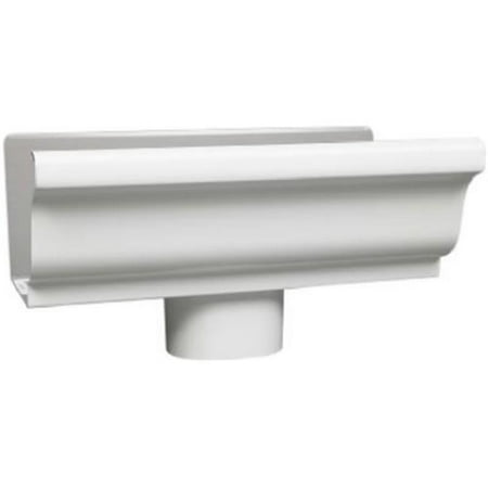 AMERIMAX HOME PRODUCTS End Piece With 3-In. Drop For 5-In. Gutter, White Galvanized Steel 33010