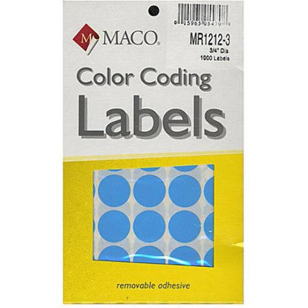 Maco Color Coding Labels (Light Blue) - 3/4 In. Round Case Pack 4, Brand Name: Leadoff By Leadoff Ncc Color Coded Name Labels